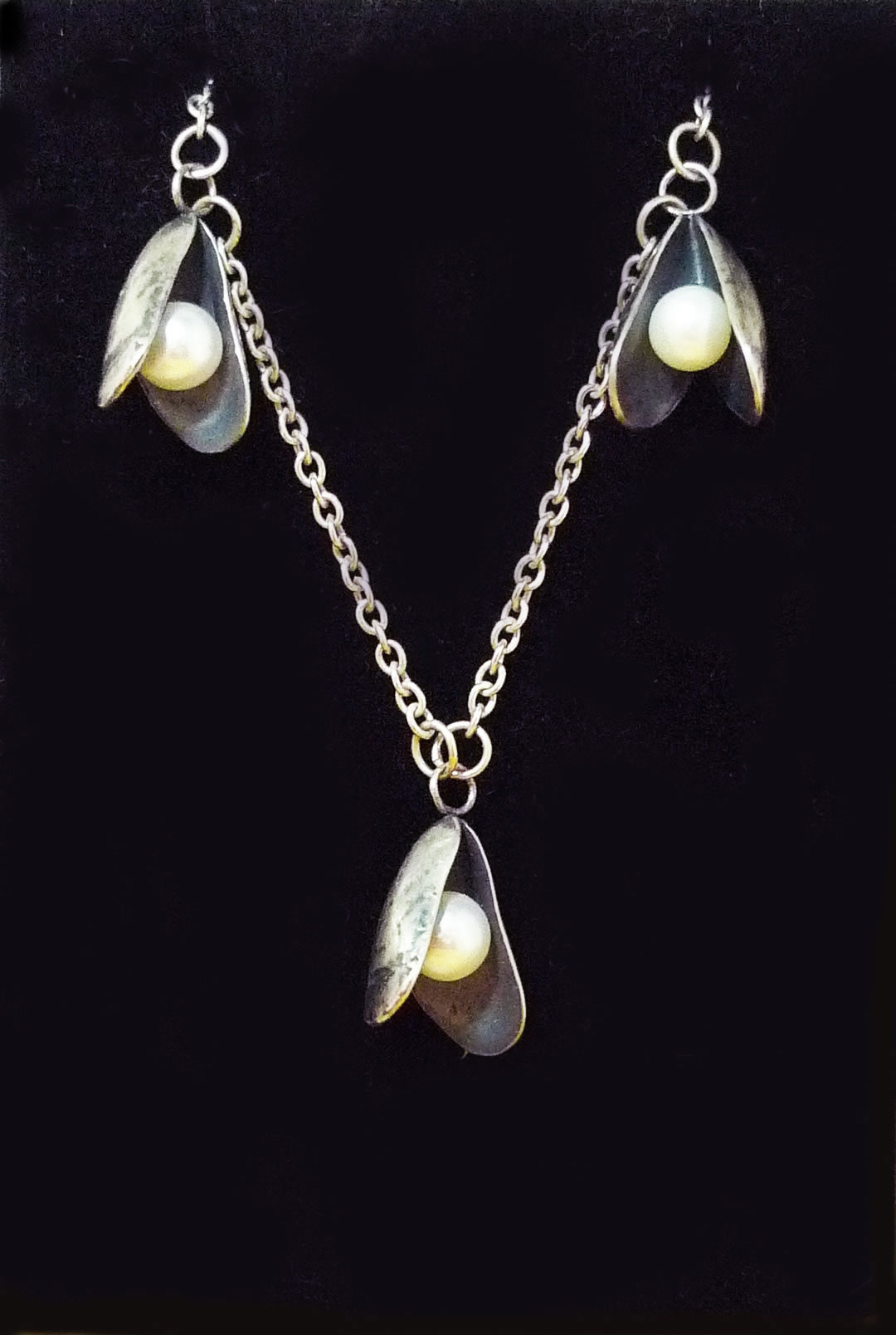 oxidised silver and pearl necklace